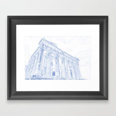 Blueprint drawing of Greece Palace  Parthenon Iconic Ruins Framed Art Print