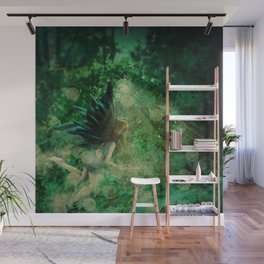 Abstract illustration of fairy fly in the forest Wall Mural