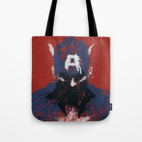 captain Tote Bags featuring The Captain by Purple Cactus