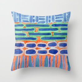Blue Shapes Pattern Throw Pillow