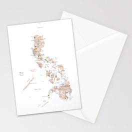Map of Philipines in neutral watercolor Stationery Cards