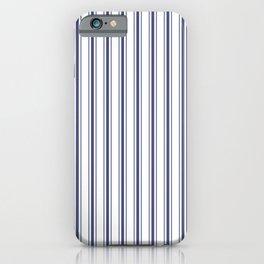 Wide Midnight Blue mattress Ticking Stripes on White iPhone Case