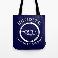 divergent Tote Bags featuring Divergent - Erudite The Intelligent by Lunil