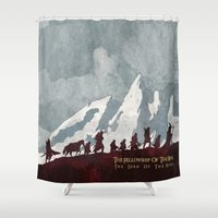 tolkien Shower Curtains featuring The fellowship of the ring by WatercolorGirlArt
