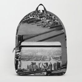 Brooklyn Bridge, Manhattan Bridge  over East River with Manhattan skyline and Hudson River in background black and white photograph Backpack