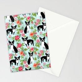 Boston Terrier florals tropical hawaiian print dog breeds custom dog art pet portraits Stationery Cards