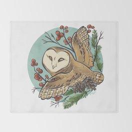 Winter Owl Throw Blanket
