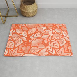 Psychedelic Folk Forest - Poppy Red + Ivory Rug