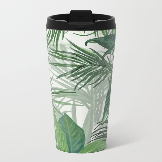 Green Tropical mood Metal Travel Mug