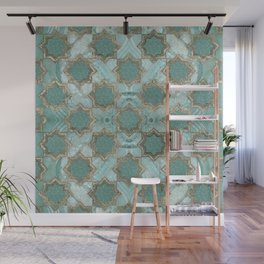 Oriental Tile pattern - Mint Agate and Gold Wall Mural