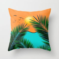 Palm in the sun Throw Pillow