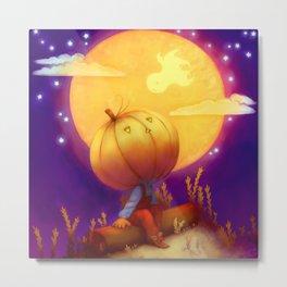 Peter Pumpkin Head Metal Print