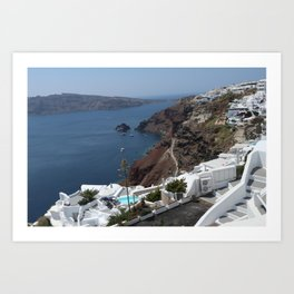 Caldera and Santorini View Art Print