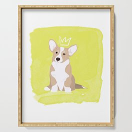 Dog Collection: Welsh Corgi _ neon crown Serving Tray