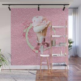 Pink Sugar Icecream Cone Wall Mural