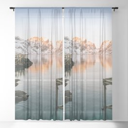 LANDSCAPE PHOTOGRAPHY OF BODY OF WATER IN FRONT OF MOUNTAIN Sheer Curtain