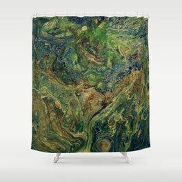 Blue Green Gold Copper Lava Flow Shower Curtain