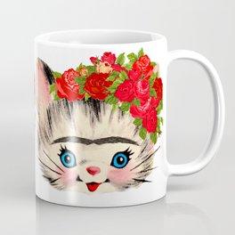 Frida Catlo Vintage Retro Cat Old Skool Coffee Mug