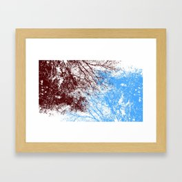 Abstract interweaving tree branches (burgundy and blue) Framed Art Print