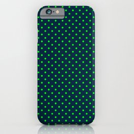 Mini Navy and Neon Lime Green Polka Dots iPhone Case