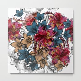 Tropical pattern with hibiscus flowers. Hawaii style watercolor Metal Print