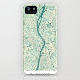 Budapest Map Blue Vintage iPhone Case