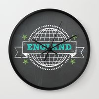 england Wall Clocks featuring England by My Little Thought Bubbles