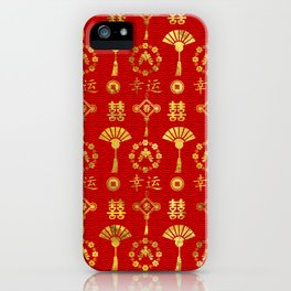 Gold on Red  Lucky Chinese Symbols  Pattern iPhone Case