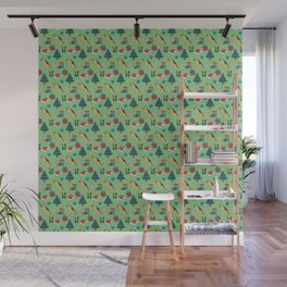 Christmas German Shepherd with Santa Hats and Christmas Trees in Green Wall Mural