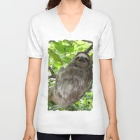 sloths V-neck T-shirts featuring Sloths in Nature by Amber Galore Design