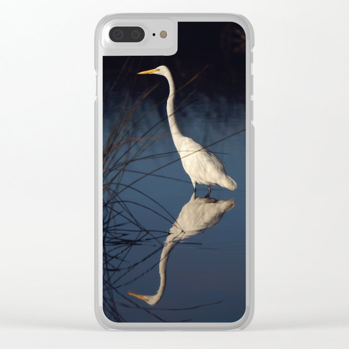 Morning Egret Reflection Clear iPhone Case