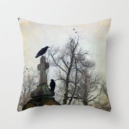 A Gatherng Of Crows Throw Pillow