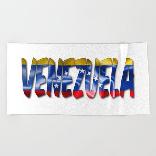 Venezuela Word With Flag Texture Beach Towel
