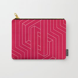Modern minimal Line Art / Geometric Optical Illusion - Red Version  Carry-All Pouch