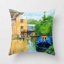 A narrow boat stops after passing through Coxes Lock near Addlestone in Surrey.  Throw Pillow