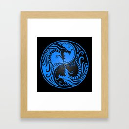Blue and Black Yin Yang Dragons Framed Art Print