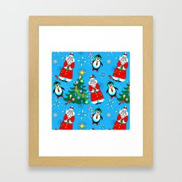Santa and Penguins Framed Art Print