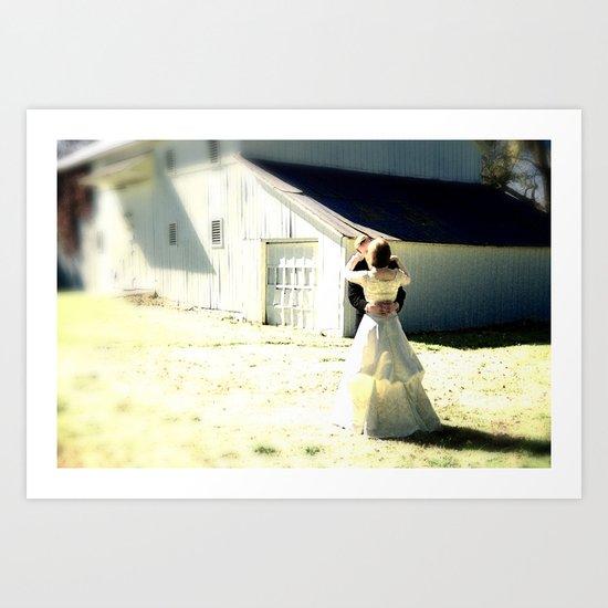 A sunlit country wedding Art Print
