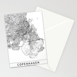 Copenhagen White Map Stationery Cards