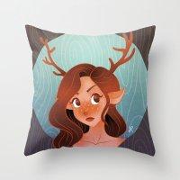 fawn Throw Pillows featuring Fawn by Lauren Draghetti
