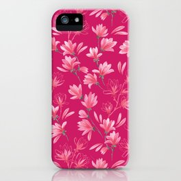 Watercolor magnolias in hot pink iPhone Case