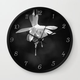 Fuschia in Black and White Wall Clock