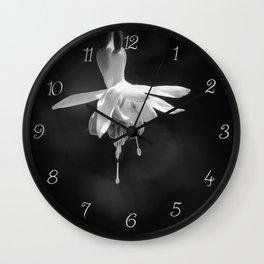 Fuschia in Black and White Wall Clock