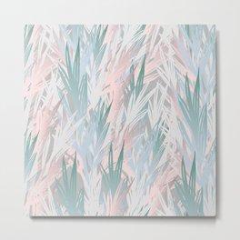 Tropical pastel leaves Metal Print