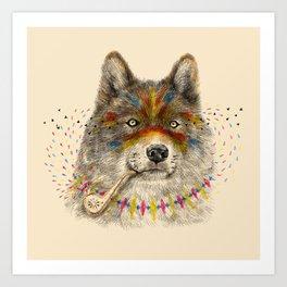 Cherokee Wolf Art Print