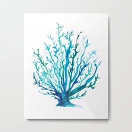 Watercolor Blue + Green Coral Metal Print