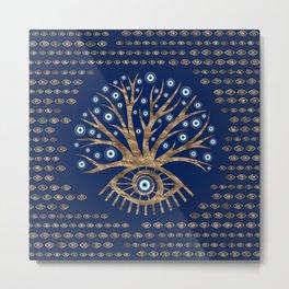 Greek Eye Tree - Mati Mataki - Matiasma Gold and blue Metal Print
