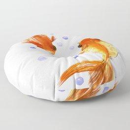 Goldfish, two fish, Koi Asian Style watercolor art, feng shui Floor Pillow