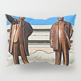 The Gods Of The North | Kim Il-sung And Kim Jong-il Oil Painting Pillow Sham
