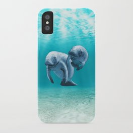 Two Manatees Swimming iPhone Case
